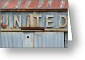 High Resolution Greeting Cards - UNITED Rusted Metal Sign Greeting Card by Nikki Marie Smith