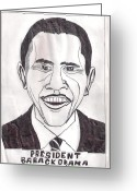 Barack Drawings Greeting Cards - United State President Barack Obama Greeting Card by Ademola kareem oshodi