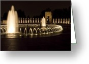 Washington D.c. Tapestries Textiles Greeting Cards - United States National World War II Memorial in Washington DC Greeting Card by Brendan Reals
