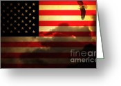 July 4 Greeting Cards - United States of America . Land of The Free Greeting Card by Wingsdomain Art and Photography