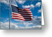 "\""old Glory\\\"" Greeting Cards - United States of America Greeting Card by Steve Gadomski"