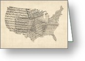 United States Map Greeting Cards - United States Old Sheet Music Map Greeting Card by Michael Tompsett