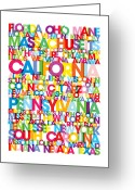 Word Map Greeting Cards - United States USA Text Bus Blind Greeting Card by Michael Tompsett