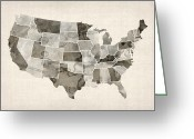 United States Map Greeting Cards - United States Watercolor Map Greeting Card by Michael Tompsett