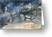 Surreal Landscape Greeting Cards - Universal Flow Greeting Card by Christopher Beikmann
