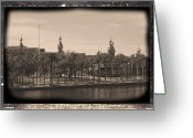 Cityscape Digital Art Greeting Cards - University of Tampa with Old World Framing Greeting Card by Carol Groenen