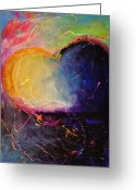 Sunrise Mixed Media Greeting Cards - Unrestricted Heart Sunset Colors Greeting Card by Johane Amirault