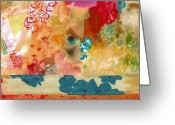 Abstract Collage Greeting Cards - Untitled 028 Greeting Card by Gloria  Von Sperling