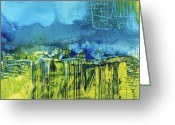 Blue Mixed Media Greeting Cards - Untitled 030625 Greeting Card by Michel  Keck