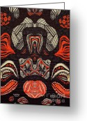 Tribal Drawings Greeting Cards - Untitled #16 Greeting Card by HD Connelly