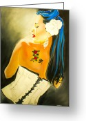 Black Widow Painting Greeting Cards - Untitled Beauty  Greeting Card by Chris  Leon
