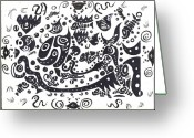 Tribal Drawings Greeting Cards - Untitled Fish Piece Greeting Card by Robert Wolverton Jr