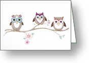 Sarah Zilbershteyn Greeting Cards - Untitled Owls Greeting Card by Sarah Zilbershteyn
