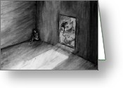 Expressive Drawings Greeting Cards - Untitled Room Greeting Card by Ritchie Dalto