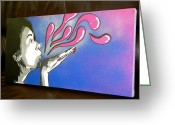 Vibe Greeting Cards - Untitled Street Art - Spray on Canvas Greeting Card by Victor Cavalera