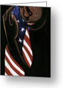 Patriotism Painting Greeting Cards - Untitled Greeting Card by Toni  Thorne