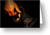 Musicians Glass Greeting Cards - Untying the Sound  Greeting Card by Steven  Digman