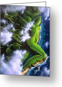 Green Painting Greeting Cards - Unveiled Greeting Card by Jerry LoFaro