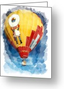 Hot Air Balloon Mixed Media Greeting Cards - Up and away Greeting Card by Elaine Frink