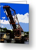 Florida Bridge Digital Art Greeting Cards - Up Bridge Greeting Card by David Lee Thompson