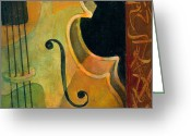 Classical Music Art Greeting Cards - Up Close and Personal Greeting Card by Susanne Clark