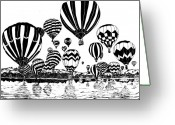 Hot Air Balloon Mixed Media Greeting Cards - Up In The Air Greeting Card by Vicki  Housel