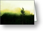 Winter Art Greeting Cards - Up in the fog Greeting Card by Cathie Tyler