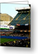 Prints Pyrography Greeting Cards - Upper Deck  The Yankee Stadium Greeting Card by Iconic Images Art Gallery David Pucciarelli