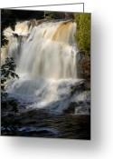 Landscape Framed Print Greeting Cards - Upper Falls Gooseberry River 2 Greeting Card by Larry Ricker