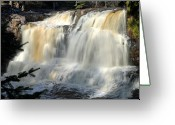 Landscape Framed Print Greeting Cards - Upper Falls Gooseberry River Greeting Card by Larry Ricker