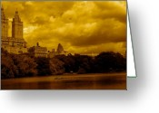 Lake Park Greeting Cards - Upper West Side and Central Park Greeting Card by Monique Wegmueller