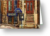 Winter Photos Painting Greeting Cards - Upstairs Jazz Bar And Grill Montreal Greeting Card by Carole Spandau