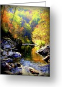 Creeks Greeting Cards - Upstream Greeting Card by Karen Wiles