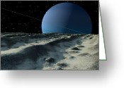 Gully Greeting Cards - Uranus Moon Miranda Is Covered Greeting Card by Ron Miller