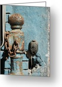 Bleu Greeting Cards - Urban Blue Greeting Card by AdSpice Studios