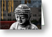 Woods  Greeting Cards - Urban Buddha  Greeting Card by Linda Woods