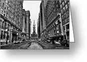 Black And White Digital Art Greeting Cards - Urban Canyon - Philadelphia City Hall Greeting Card by Bill Cannon