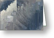 Grey Blue Greeting Cards - Urban Core Greeting Card by Tim Allen