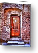 Back Porch Greeting Cards - Urban Door in Old Brick Building Greeting Card by Jill Battaglia