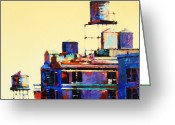 Buildings Painting Greeting Cards - Urban Rooftops Greeting Card by Patti Mollica