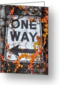 Concrete Greeting Cards - Urban Seattle Sign - Fall Greeting Card by Gary Whitton