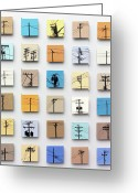 Original Ceramics Greeting Cards - Urban Sentinels Greeting Card by Jason Messinger