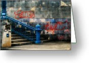Spraypaint Greeting Cards - Urban Steps Greeting Card by Perry Webster