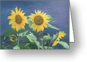 Sunflower Studio Art Greeting Cards - Urban Sunflowers Original Colorful Painting Greeting Card by K Joann Russell