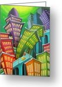 Buildings Painting Greeting Cards - Urban Vertigo Greeting Card by Eva Folks