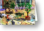 Ontario Mixed Media Greeting Cards - Urban Window 9 Greeting Card by Jill PRICE