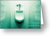Urinal Greeting Cards - Urinal in mens restroom. Greeting Card by John Greim