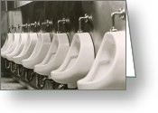 Urinal Greeting Cards - Urinals Greeting Card by Alan Sirulnikoff