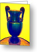 Vases Greeting Cards - Urn On Yellow Greeting Card by Randall Weidner