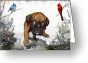 Cardinal Greeting Cards - Ursula Uma and the Underdog Greeting Card by Julie L Hoddinott